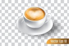 τρισδιάστατο ρεαλιστικό διάνυσμα του καφέ espresso στο απομονωμένο υπόβαθρο διανυσματική απεικόνιση