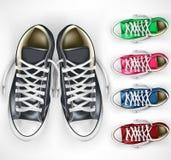 τρισδιάστατο ρεαλιστικό διανυσματικό ζευγάρι πλέγματος των μαύρων πάνινων παπουτσιών συν τις διαφορετικές παραλλαγές χρώματος καθ ελεύθερη απεικόνιση δικαιώματος