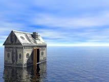 τρισδιάστατο σπίτι κτημάτων δολαρίων έννοιας πραγματικό διανυσματική απεικόνιση