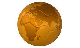 τρισδιάστατο σφαιρών ποδόσφαιρο απεικόνισης ποδοσφαίρου χρυσό χρυσό Στοκ Φωτογραφία