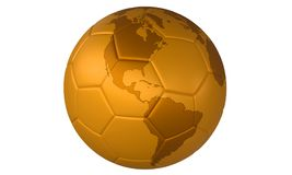 τρισδιάστατο σφαιρών ποδόσφαιρο απεικόνισης ποδοσφαίρου χρυσό χρυσό Στοκ φωτογραφία με δικαίωμα ελεύθερης χρήσης