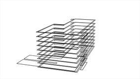 τρισδιάστατο σύγχρονο πρότυπο σπιτιών στο πρώτο στάδιο ενός προγράμματος, που κατασκευάζει και που σχεδιάζει την έννοια : Σχηματι απεικόνιση αποθεμάτων