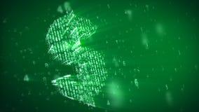 τρισδιάστατο σύμβολο δολαρίων με τα ψηφία επίδρασης μητρών διανυσματική απεικόνιση