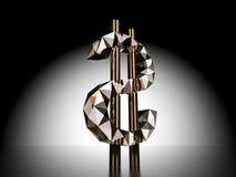 τρισδιάστατο σύμβολο δολαρίων διανυσματική απεικόνιση