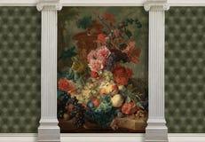 τρισδιάστατο υπόβαθρο με το βάζο των λουλουδιών, των στηλών και της επίδρασης του γεμισμένου δέρματος Κομμάτι του Ιαν. van Huysum απεικόνιση αποθεμάτων