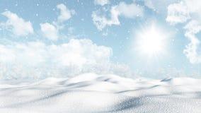 τρισδιάστατο χιονώδες χειμερινό τοπίο Στοκ Φωτογραφία