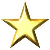 τρισδιάστατο χρυσό αστέρι Στοκ Εικόνες