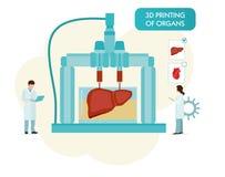 τρισδιάστατο Bioprinter Ανθρώπινη ξαναδιπλωμένη όργανα έννοια Διανυσματική επίπεδη απεικόνιση κινούμενων σχεδίων στοκ φωτογραφία με δικαίωμα ελεύθερης χρήσης