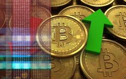τρισδιάστατο bitcoin πάνω-κάτω τα βέλη Στοκ εικόνα με δικαίωμα ελεύθερης χρήσης