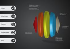 τρισδιάστατο infographic πρότυπο απεικόνισης με δύο κώνους και τρεις κυλίνδρους που τακτοποιούνται οριζόντια Απεικόνιση αποθεμάτων