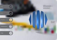 τρισδιάστατο infographic πρότυπο απεικόνισης με δύο κώνους και τρεις κυλίνδρους που τακτοποιούνται οριζόντια Διανυσματική απεικόνιση