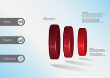 τρισδιάστατο infographic πρότυπο απεικόνισης με τρεις κυλίνδρους που τακτοποιούνται horizontaly Ελεύθερη απεικόνιση δικαιώματος