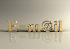 τρισδιάστατο photorealistic κείμενο ταχυδρομείου ε χρυσό Στοκ φωτογραφία με δικαίωμα ελεύθερης χρήσης