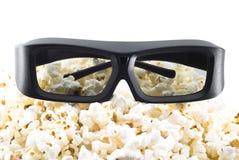 τρισδιάστατο popcorn γυαλιών π&alp Στοκ Φωτογραφία
