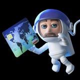 τρισδιάστατο spaceman αστροναυτών που φθάνει για μια χρεωστική κάρτα σε μηά βαρύτητα ελεύθερη απεικόνιση δικαιώματος