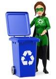 τρισδιάστατο superhero γυναικών της ανακύκλωσης που στέκεται με ένα μπλε δοχείο για το REC ελεύθερη απεικόνιση δικαιώματος
