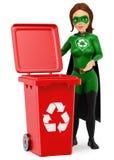 τρισδιάστατο superhero γυναικών της ανακύκλωσης που στέκεται με ένα κόκκινο δοχείο για το recy διανυσματική απεικόνιση
