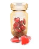 τρισδιάστατα απομονωμένα απεικόνιση χάπια αγάπης που καθίστανται άσπρα Στοκ Φωτογραφίες