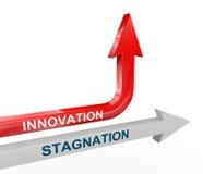 τρισδιάστατα βέλη στασιμότητας και καινοτομίας Στοκ Εικόνα
