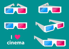 τρισδιάστατα γυαλιά κινηματογράφων που απομονώνονται σε μια χρωματισμένη διανυσματική απεικόνιση υποβάθρου απεικόνιση αποθεμάτων