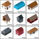 τρισδιάστατα εικονίδια αγροτικών κτηρίων, διανυσματική απεικόνιση Στοκ φωτογραφίες με δικαίωμα ελεύθερης χρήσης