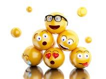 τρισδιάστατα εικονίδια Emojis με τις εκφράσεις του προσώπου Στοκ φωτογραφίες με δικαίωμα ελεύθερης χρήσης
