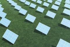 τρισδιάστατα ηλιακά πλαίσια απεικόνισης με τα σύννεφα Ενέργεια και ηλεκτρική ενέργεια Εναλλακτική ενέργεια, eco ή πράσινες γεννήτ Στοκ εικόνα με δικαίωμα ελεύθερης χρήσης