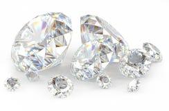 τρισδιάστατα διαμάντια στο λευκό Στοκ Εικόνα