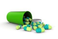 τρισδιάστατα ιατρικά χάπια που απομονώνονται στο λευκό Στοκ Εικόνες