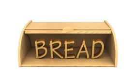 τρισδιάστατα κιβώτιο ψωμιού και ψωμί λέξης στο άσπρο υπόβαθρο Στοκ Εικόνα