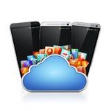 τρισδιάστατα κινητά τηλέφωνο και σύννεφο apps Στοκ φωτογραφία με δικαίωμα ελεύθερης χρήσης