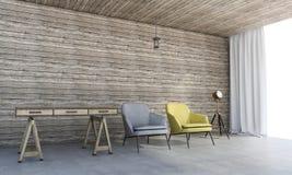 τρισδιάστατα ξύλινα έπιπλα απόδοσης με την όμορφη πολυθρόνα Στοκ εικόνα με δικαίωμα ελεύθερης χρήσης