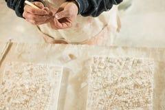 τρισδιάστατα πρότυπα χαρτών πόλεων φιαγμένα από ασβεστοκονίαμα Στοκ εικόνες με δικαίωμα ελεύθερης χρήσης