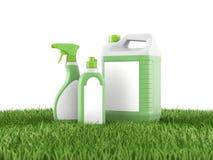 τρισδιάστατα πλαστικά δοχεία με τις ετικέτες στην πράσινη χλόη ελεύθερη απεικόνιση δικαιώματος