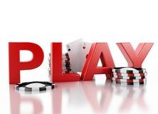 τρισδιάστατα σημεία χαρτοπαικτικών λεσχών και κάρτες παιχνιδιού Άσπρη ανασκόπηση Στοκ εικόνες με δικαίωμα ελεύθερης χρήσης