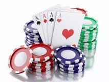 τρισδιάστατα σημεία χαρτοπαικτικών λεσχών και κάρτες παιχνιδιού Απομονωμένη άσπρη ανασκόπηση Στοκ Εικόνες