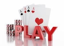 τρισδιάστατα σημεία χαρτοπαικτικών λεσχών και κάρτες παιχνιδιού Απομονωμένη άσπρη ανασκόπηση Στοκ φωτογραφία με δικαίωμα ελεύθερης χρήσης