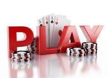 τρισδιάστατα σημεία χαρτοπαικτικών λεσχών και κάρτες παιχνιδιού Απομονωμένη άσπρη ανασκόπηση Στοκ Φωτογραφία