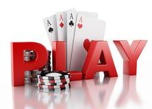 τρισδιάστατα σημεία χαρτοπαικτικών λεσχών και κάρτες παιχνιδιού Απομονωμένη άσπρη ανασκόπηση Στοκ εικόνα με δικαίωμα ελεύθερης χρήσης