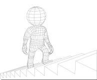 Τρισδιάστατα σκαλοπάτια περπατήματος ατόμων μαριονετών Στοκ Εικόνα