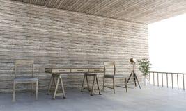 τρισδιάστατα συμπαθητικά ξύλινα έπιπλα απόδοσης στη θερινή ημέρα Στοκ φωτογραφία με δικαίωμα ελεύθερης χρήσης