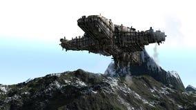 τρισδιάστατα UFO και βουνά Στοκ Εικόνα