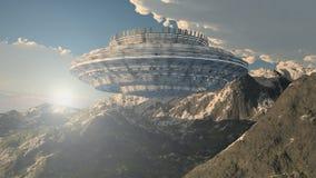 τρισδιάστατα UFO και βουνά Στοκ φωτογραφία με δικαίωμα ελεύθερης χρήσης
