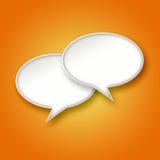 τρισδιάστατες άσπρες φυσαλίδες συνομιλίας στο πορτοκαλί υπόβαθρο Στοκ φωτογραφία με δικαίωμα ελεύθερης χρήσης