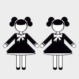 τρισδιάστατες απομονωμένες σκιαγραφίες ανθρώπων αντικειμένου κορίτσια Στοκ φωτογραφία με δικαίωμα ελεύθερης χρήσης