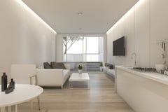 τρισδιάστατες ελάχιστες άσπρες καθιστικό και κουζίνα απόδοσης με το ντεκόρ Στοκ φωτογραφίες με δικαίωμα ελεύθερης χρήσης