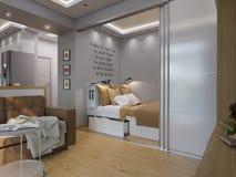 τρισδιάστατες καθιστικό και κρεβατοκάμαρα απόδοσης εσωτερικό σχέδιο Στοκ Εικόνες