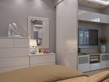τρισδιάστατες καθιστικό και κρεβατοκάμαρα απόδοσης εσωτερικό σχέδιο Στοκ Εικόνα