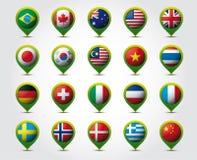 Τρισδιάστατες καρφίτσες χώρας με τις σημαίες   Στοκ εικόνες με δικαίωμα ελεύθερης χρήσης