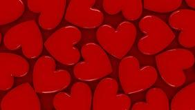 τρισδιάστατες καρδιές ανασκόπησης Στοκ Εικόνα